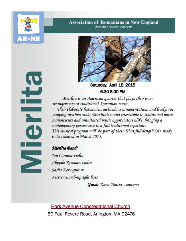 Mierlita Band Concert – April 18 2015, 6:30-8 PM – Arlington